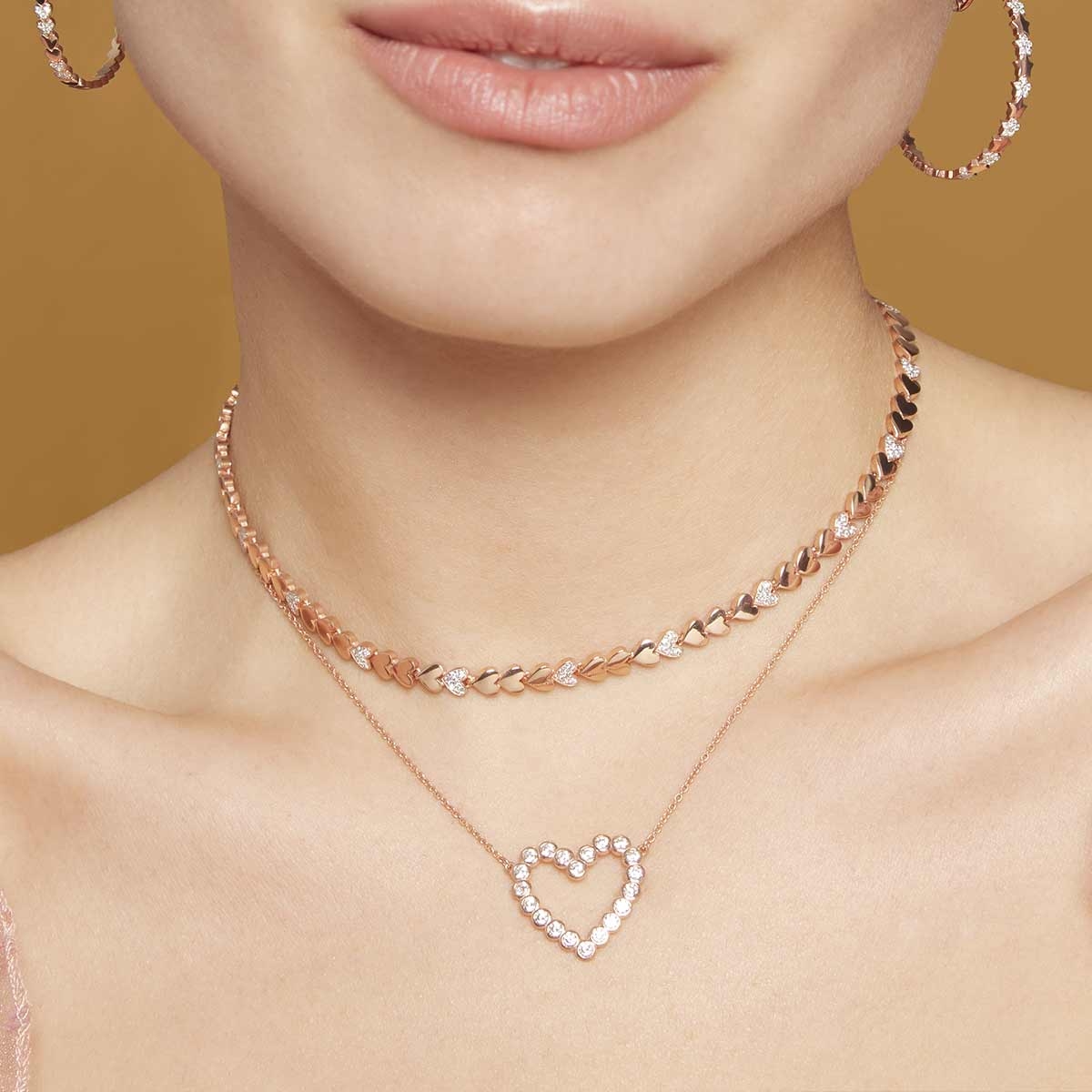 Chokers - Chain Choker with Zircons - Heart - 3 | Rue des Mille