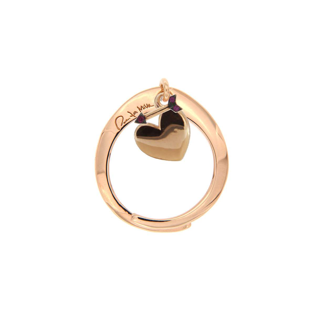 Rings - Double Rigid Ring with Heart/Arrow Pendant - 1 | Rue des Mille