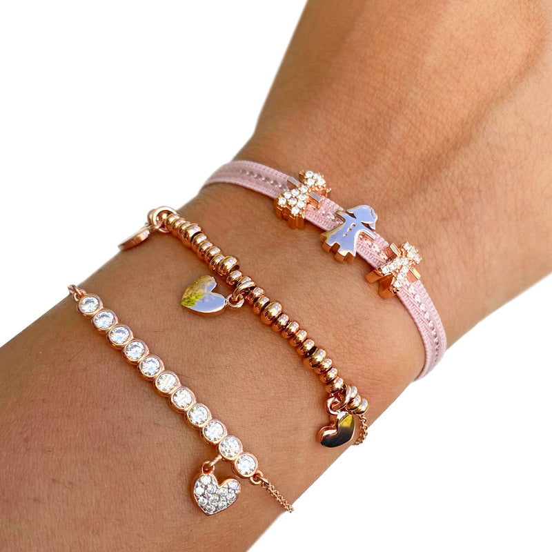 Chain Bracelet with Zircons - Heart