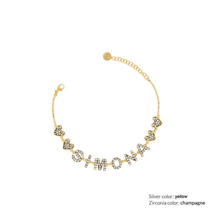 Customizable chain bracelet with zirconia letters - 18kt yellow gold plating