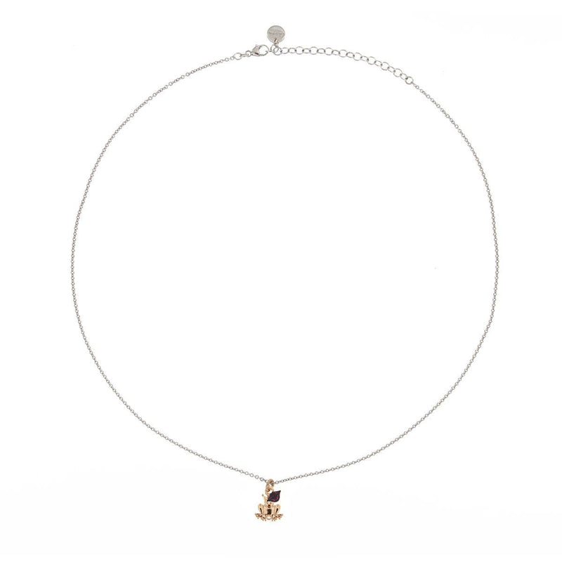 White Chain Choker with rounded pendant and Micro Zircon - Frog/Mouth