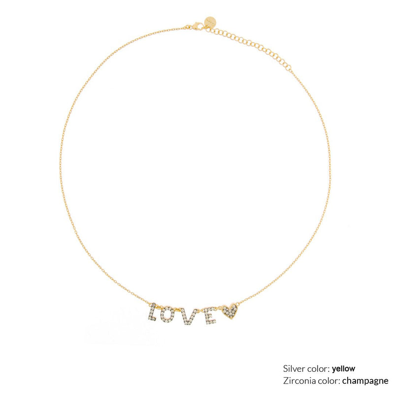 Customizable Necklace with Zircon - 18kt yellow gold plating