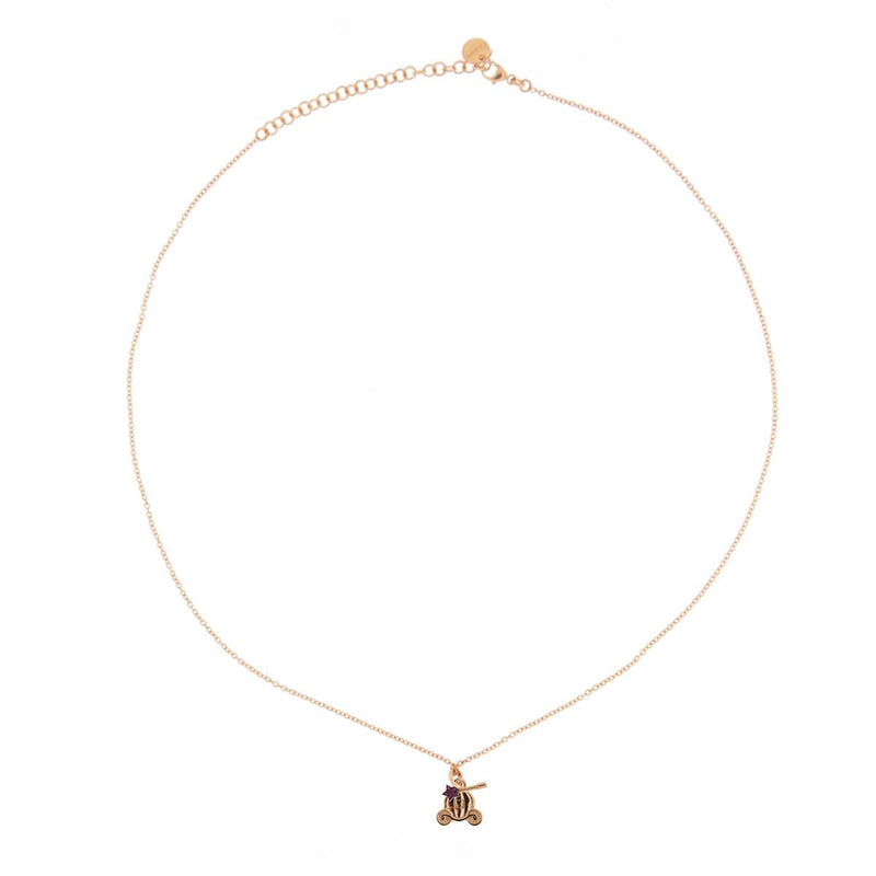 Rose Gold Chain Choker with rounded pendant and Micro Zircons - Carriage/Wand