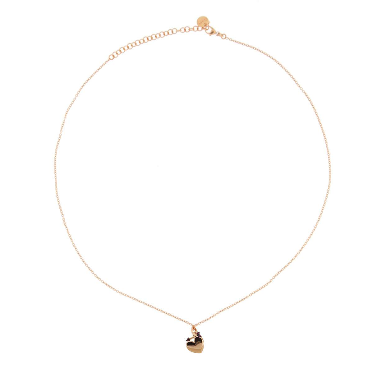 Chokers - Rose Gold Chain Choker with rounded pendant and Micro Zircons - Heart/Arrow - 1 | Rue des Mille