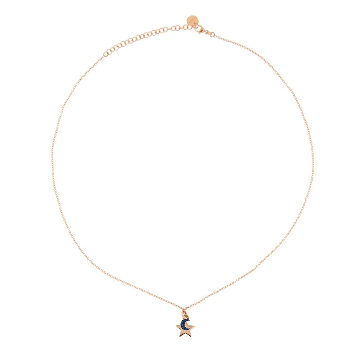 Chokers - Rose Gold Chain Choker with rounded pendant and Micro Zircons - Star/Moon - 1 | Rue des Mille