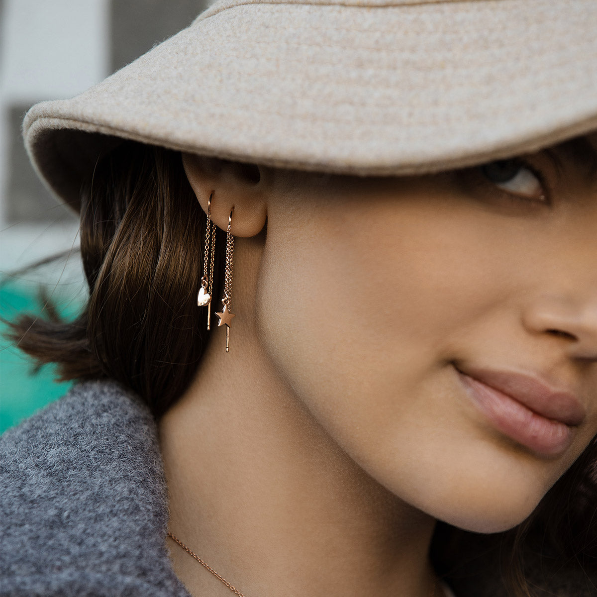 Earrings - Earring chain rounded subject - star - 4 | Rue des Mille