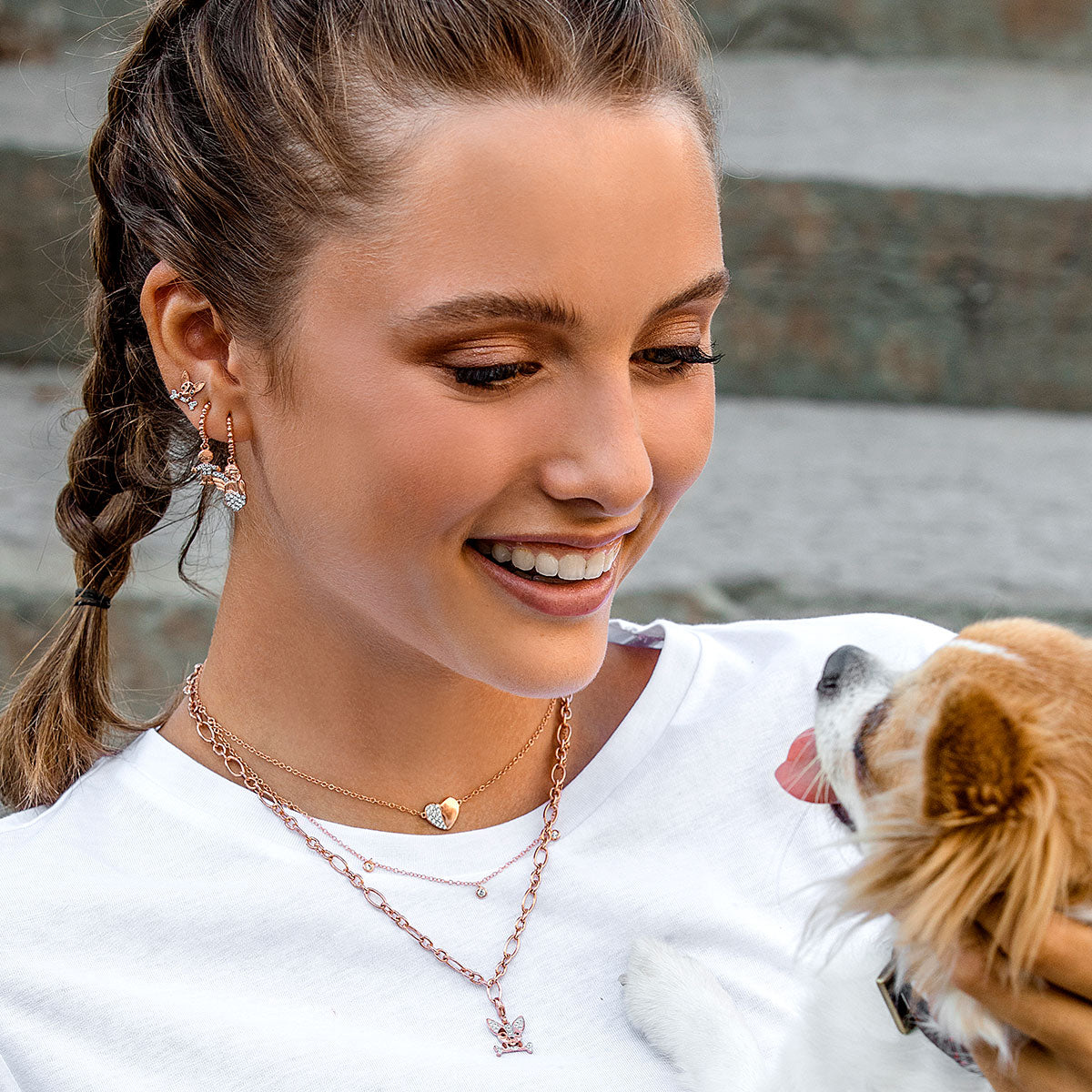 Earrings - Zirconia Earrings With Chihuahua  - 3 | Rue des Mille
