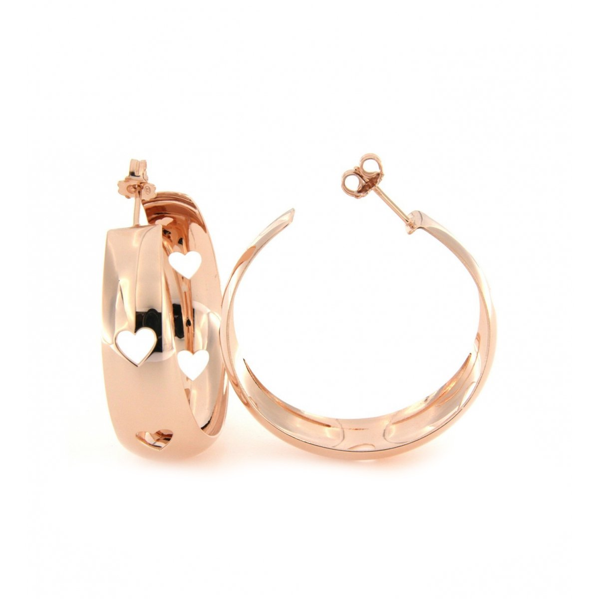 Earrings - Hoop Earrings with Rounded Large Openwork Subject - Heart - 1   Rue des Mille