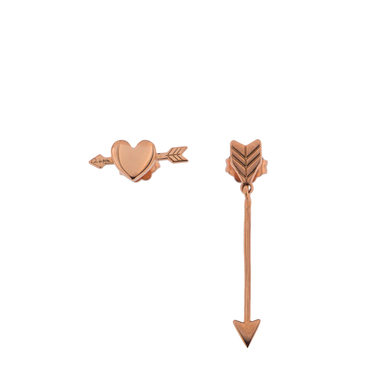 Stud with Heart and Arrow Earring