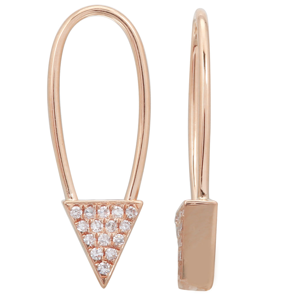 14k Rose Gold Diamond Triangle Endless Threader Drop Earrings (0.06 cttw, H-I, I1-I2)
