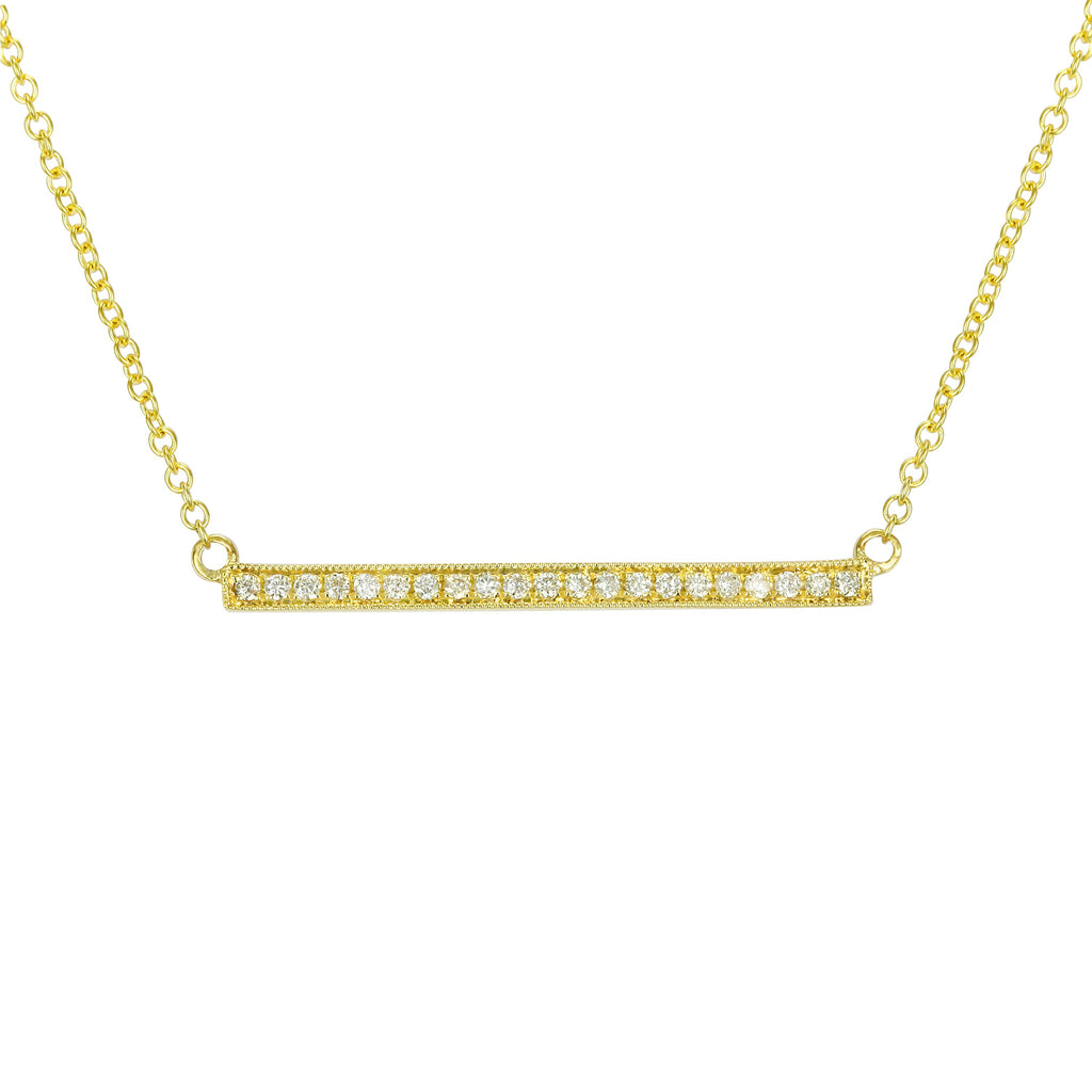 Remark 14k Yellow Gold Diamond Accent Bar Pendant Necklace (1/10 cttw), 16+2""