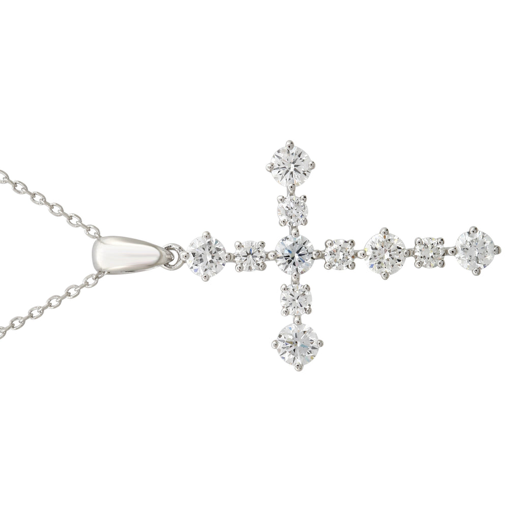 14k White Gold Created Diamond Cross Pendant Necklace