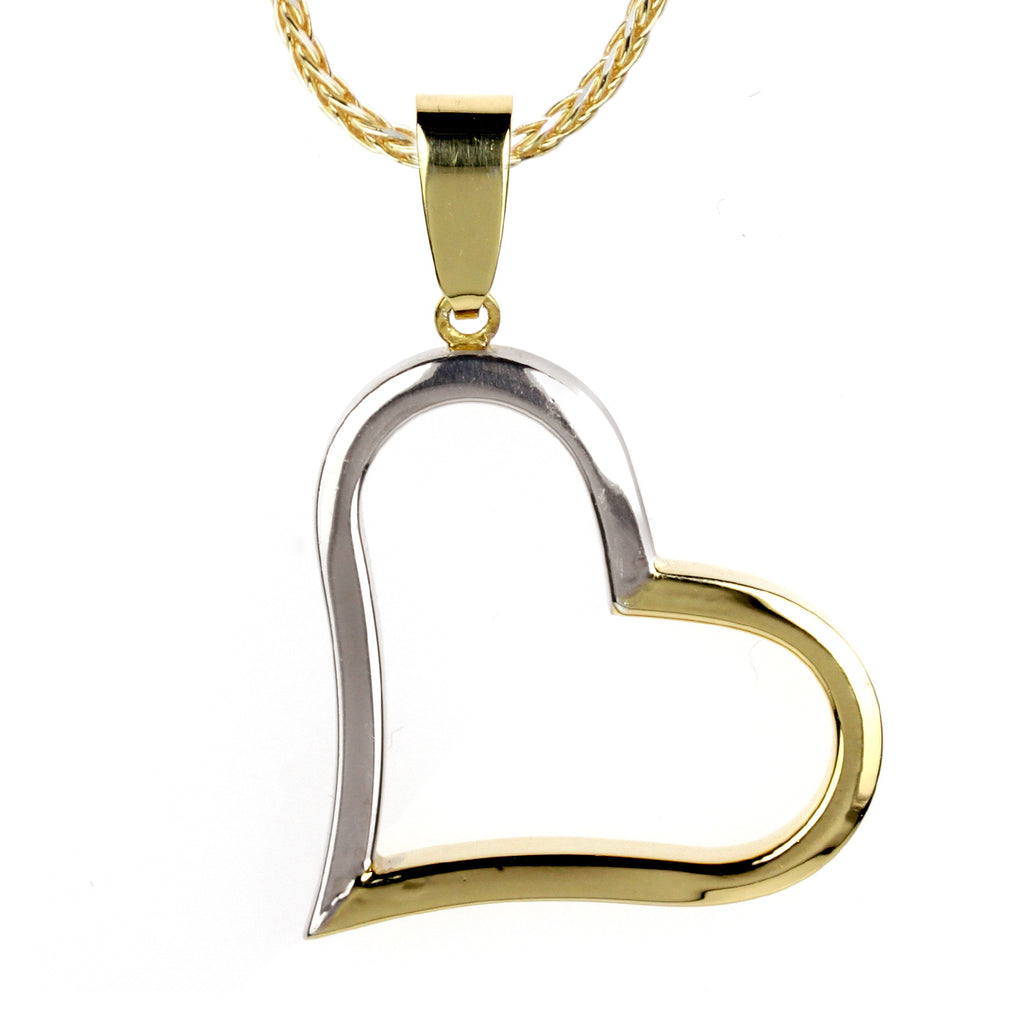 14k Gold-Bonded Sterling Silver Two-Tone Tilted Heart Pendant Necklace, 16""