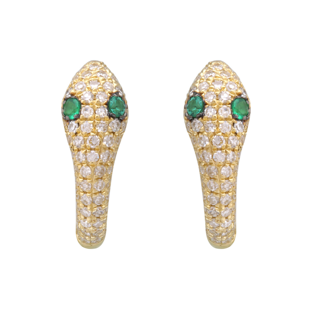 14k Yellow Gold Diamond Emerald Snake Hoop Earrings, 9mm Diameter