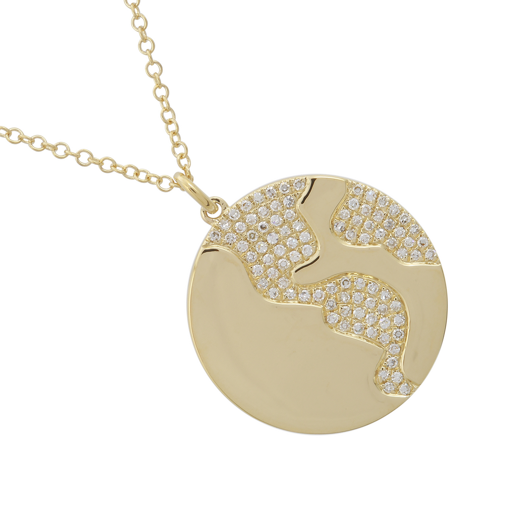 14k Yellow Gold Diamond Earth Globe Pendant Necklace (1/5 cttw, I-J Color, I2-I3 Clarity), 22+2""