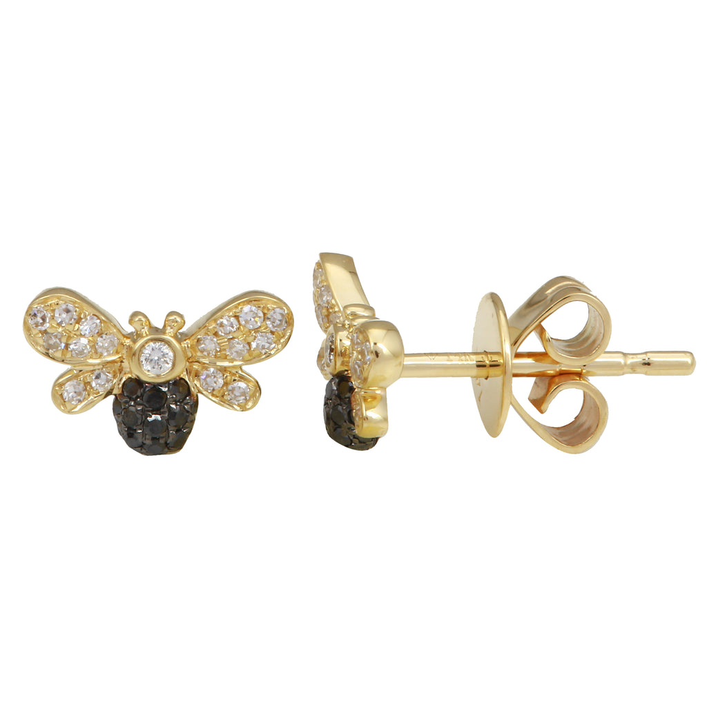 14k Yellow Gold Black White Diamond Floating Bee Stud Earrings (1/6 cttw, H-I Color, I1-I2 Clarity)