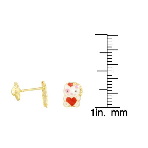 14k Yellow Gold Heart Kitty Baby Stud Earrings