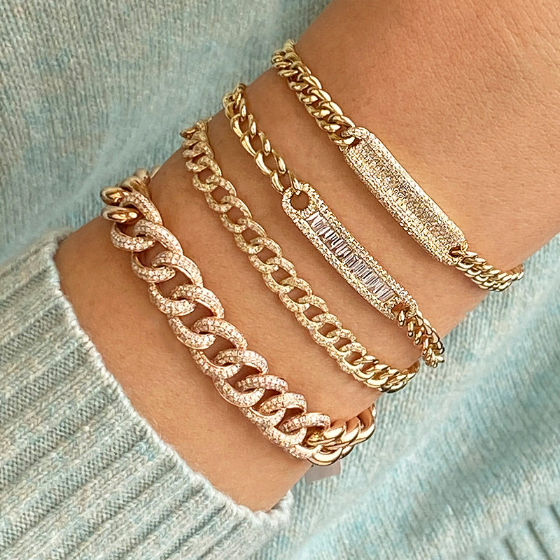 14k Yellow Gold Diamond 5mm Cuban Chain Link Bracelet (3/8 cttw), 6.85""