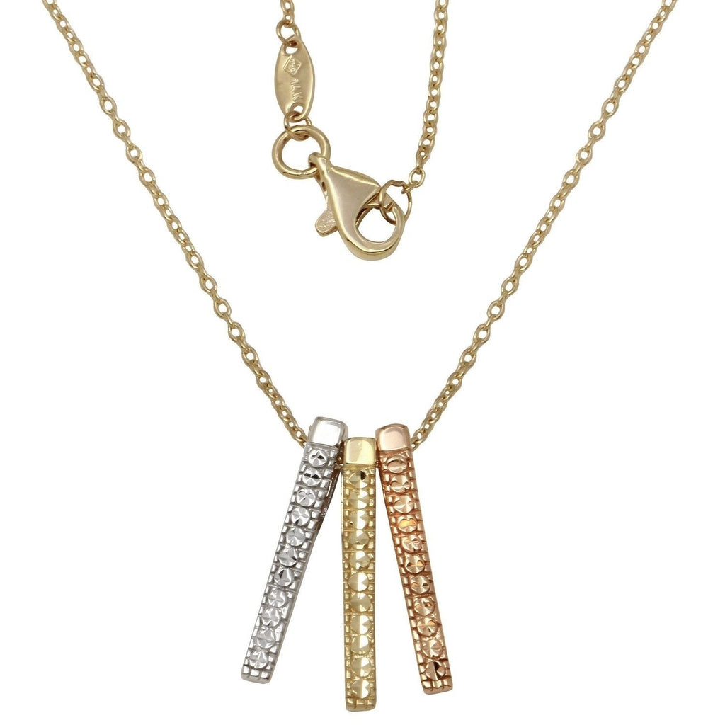 "14k Tri-Color Gold Triple Bars Pendant Necklace, 16+2"" Extender"