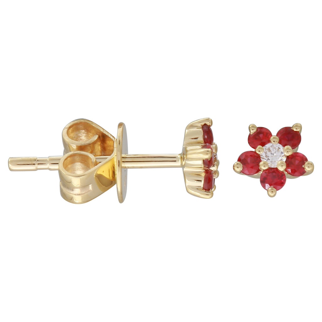 14k Yellow Gold Diamond Ruby Flower Stud Earrings (0.03 cttw, J-K Color, SI2-I1 Clarity)