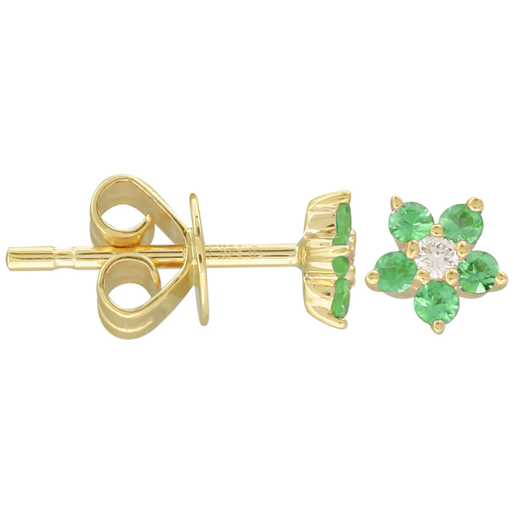 14k Yellow Gold Diamond Tsavorite Flower Stud Earrings (0.04 cttw, J-K Color, SI2-I1 Clarity)
