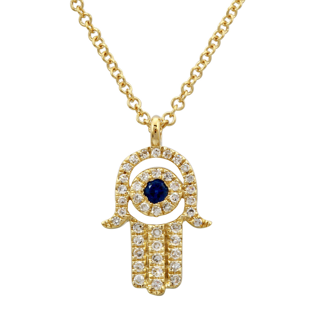 14k Yellow Gold Diamond Sapphire Accent Hamsa Pendant Necklace (1/10 cttw), 16+2""