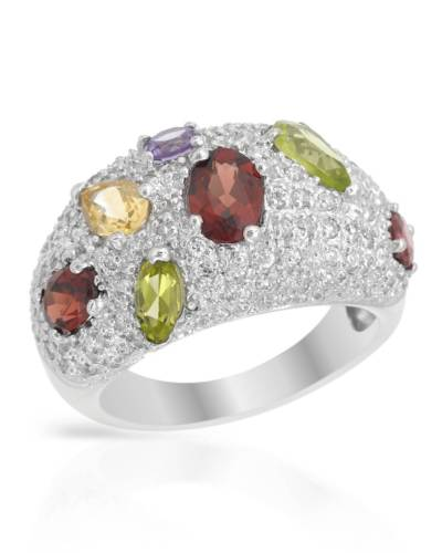 925 Cocktail Ring Multi-Color Crystals CZ
