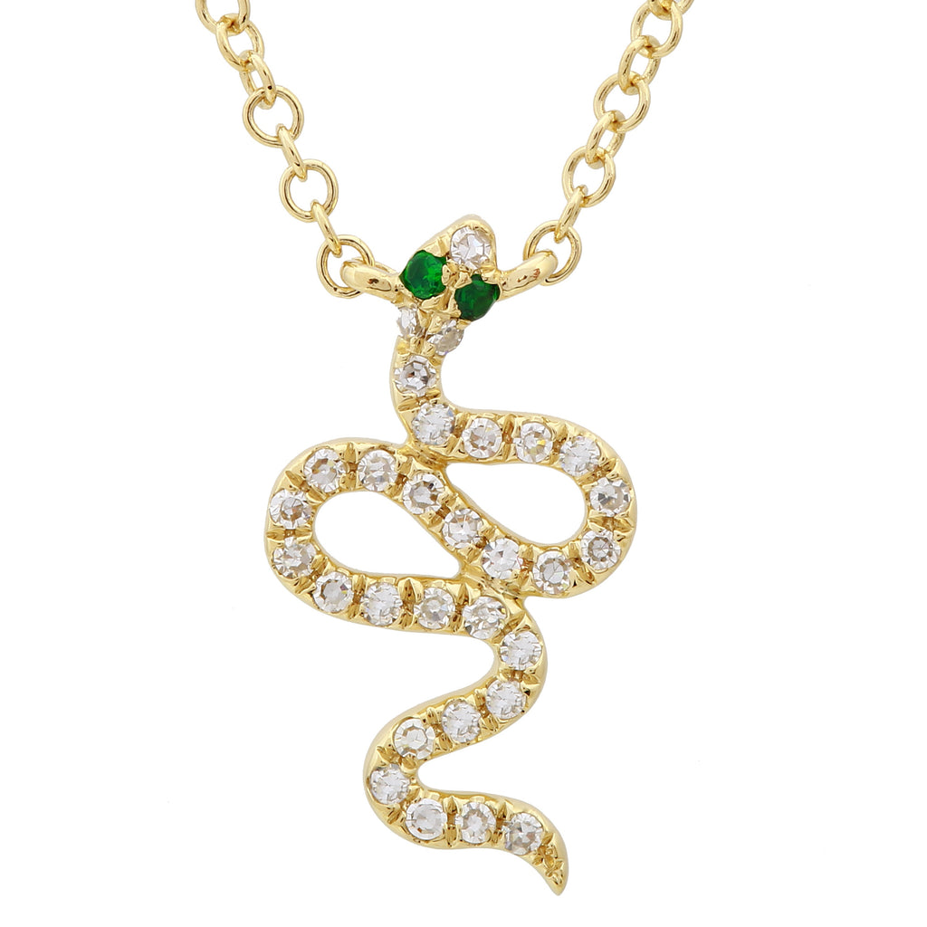 14k Yellow Gold Diamond Tsavorite Snake Pendant Necklace (1/20 cttw), 16+2""