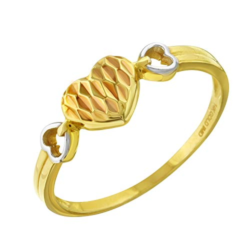 Women's 14k Tri-Color Gold Diamond-Cut Triple Heart Ring Size 7