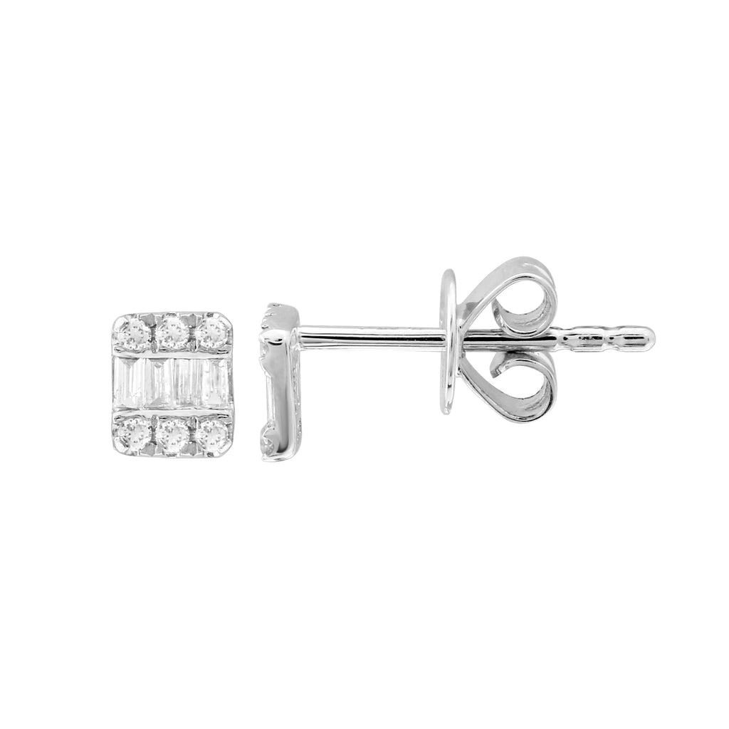 14k White Gold Diamond Baguette Channel Stud Earrings (1/10 cttw, I-J Color, I1-I2 Clarity)