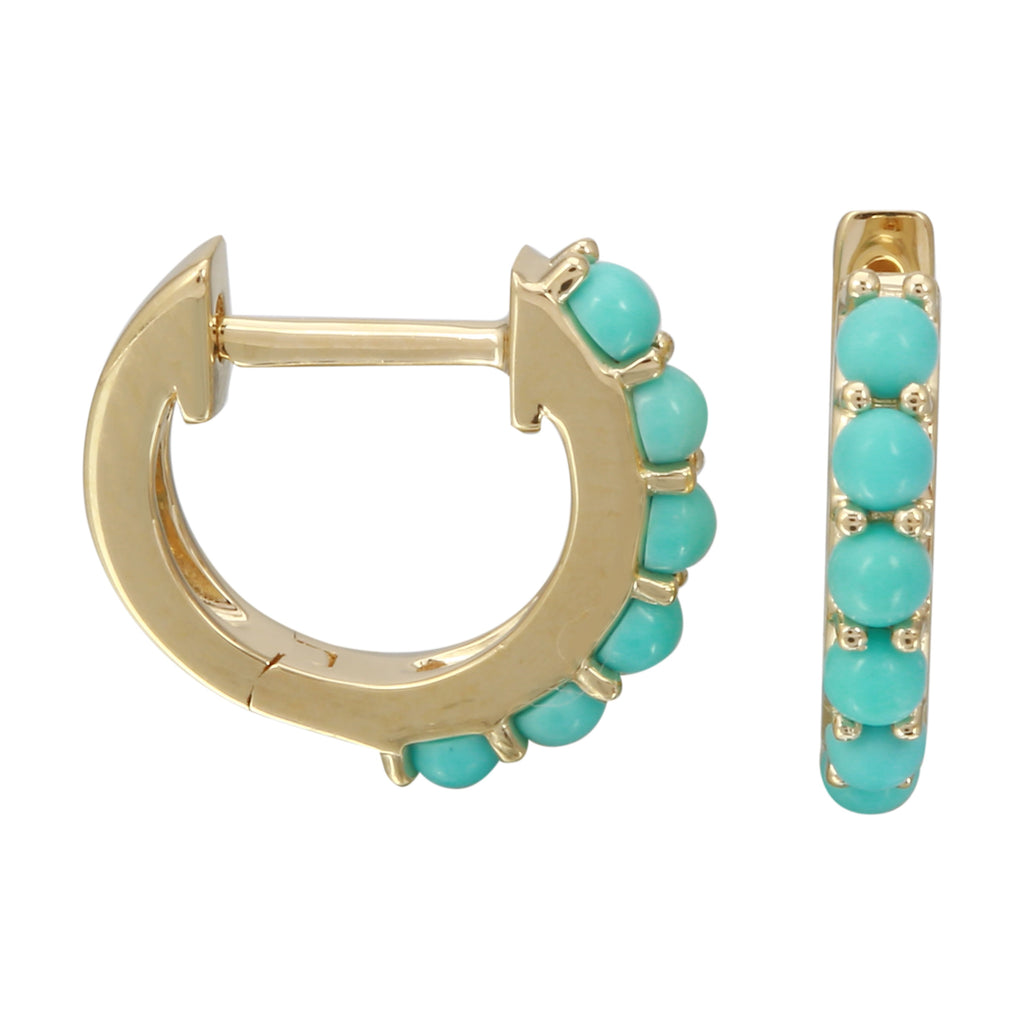 14k Yellow Gold Round Turquoise Accent Hoop Earrings (0.41 cttw), 12mm Diameter