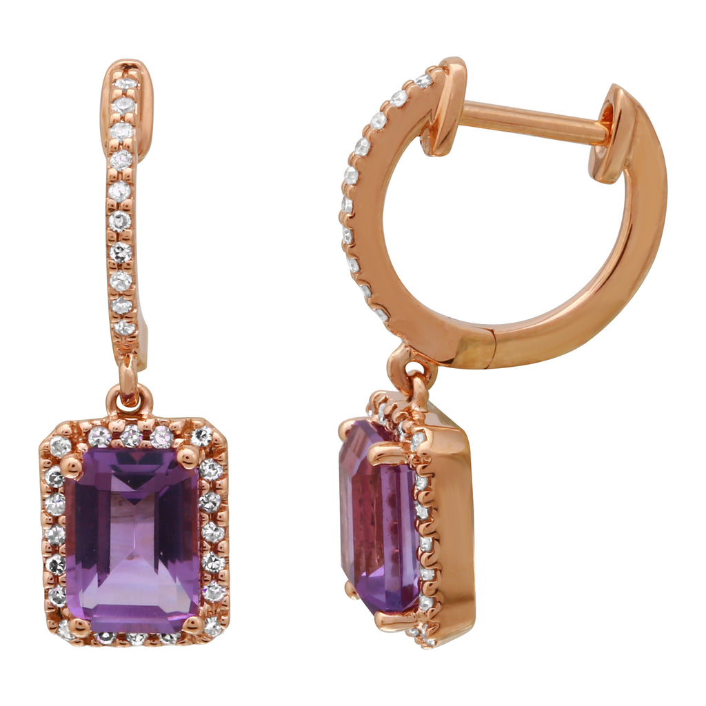 14k Rose Gold Diamond Amethyst Dangle Hoop Earrings (1/4 cttw, I-J Color, I2-I3 Clarity) 10mm Diameter