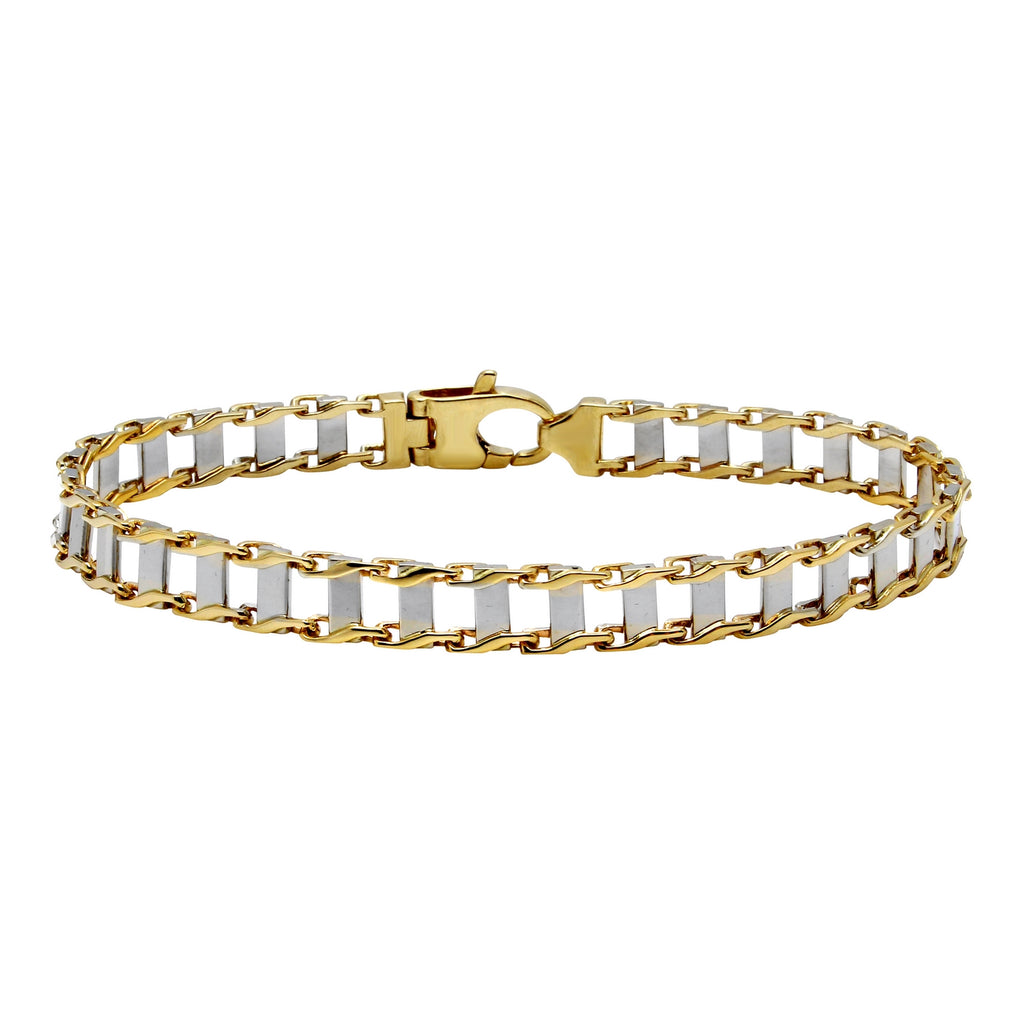Men's 14k Two-Tone Gold Railroad Link Bracelet, 8.75""