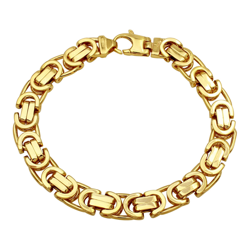 Men's 14k Yellow Gold 9.6mm Flat Byzantine Link Bracelet, 8.5""