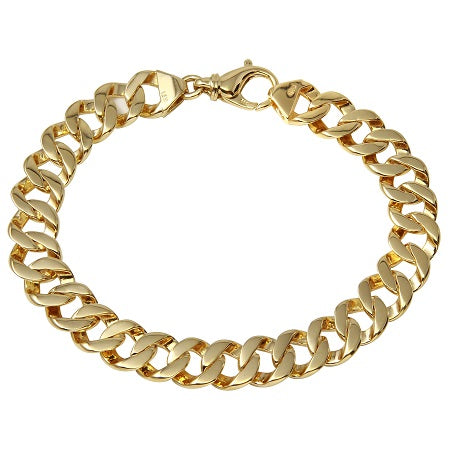 Men's 14k Yellow Gold 10.8mm Fancy Cuban Link Bracelet, 8.75""