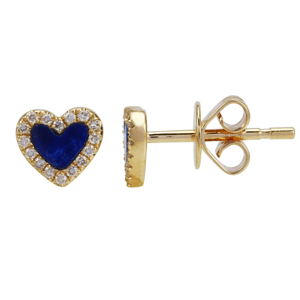 14k Yellow Gold Diamond Lapis Mini Halo Heart Stud Earrings (1/10 cttw, H-I Color, I2-I3 Clarity)