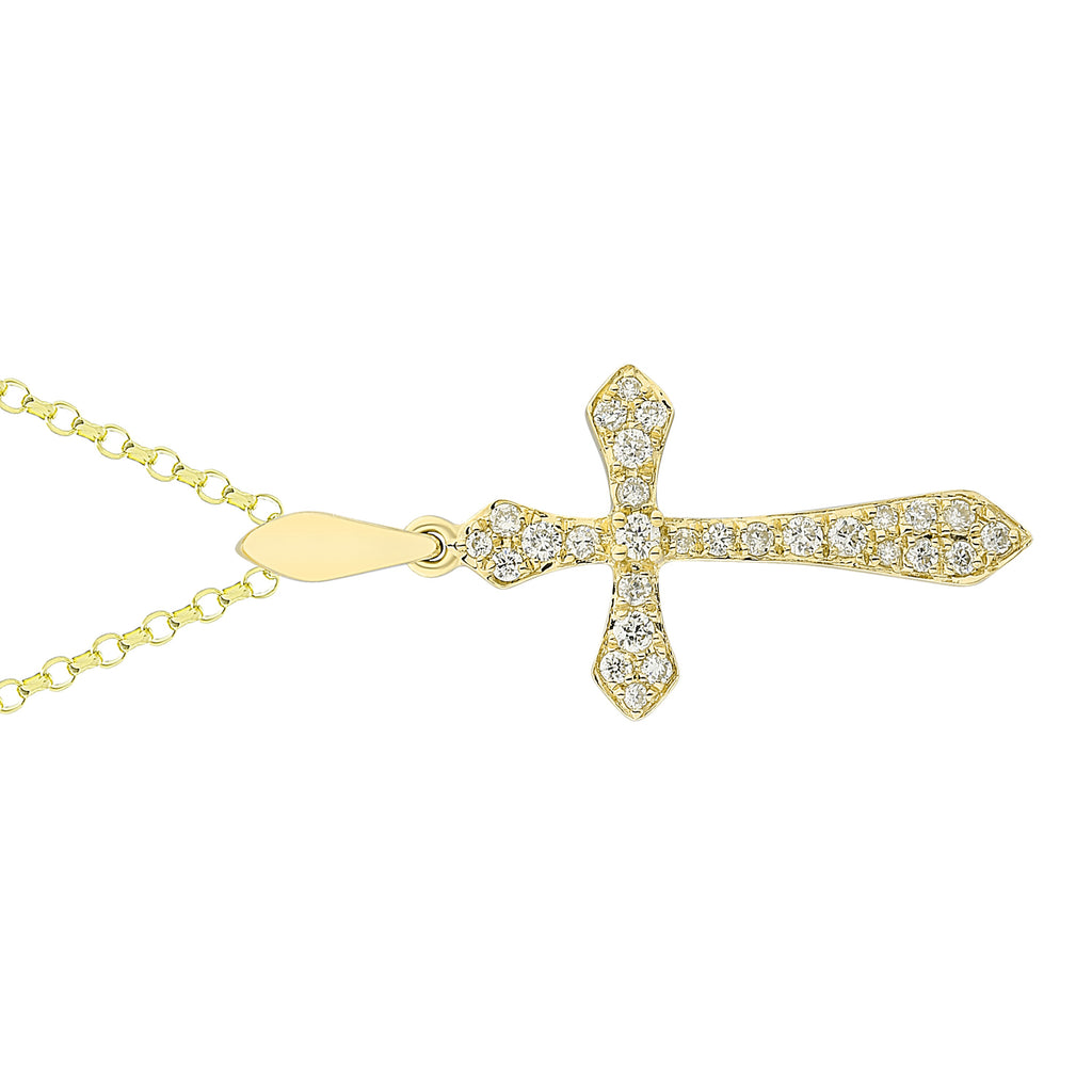 14k Yellow Gold Diamond Pave Floating Cross Pendant Necklace (1/8 cttw), 16""