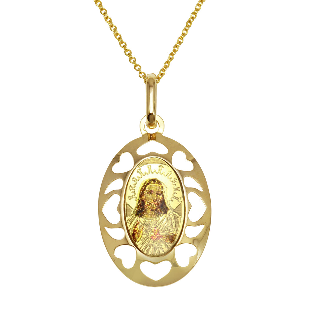 14k Yellow Gold Italian Sacred Heart Oval Pendant Necklace, 18""