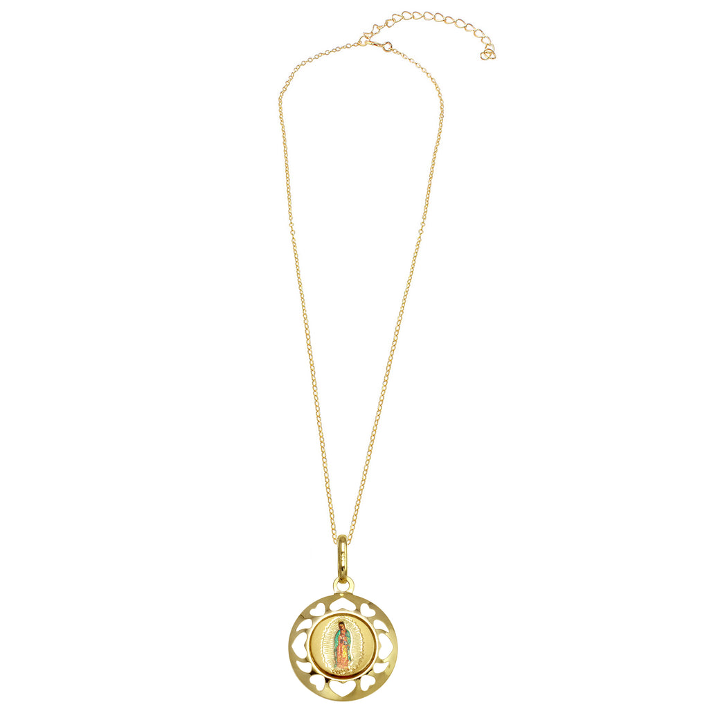 14k Yellow Gold Our Lady of Guadalupe Picture Medal Necklace, 18""