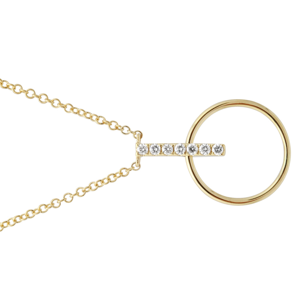 """Remark"" 14k Yellow Gold Diamond Pave Circle Bar Pendant Necklace (0.08 cttw, H-I Color, I1-I2 Clarity), 16+2"" Extender"