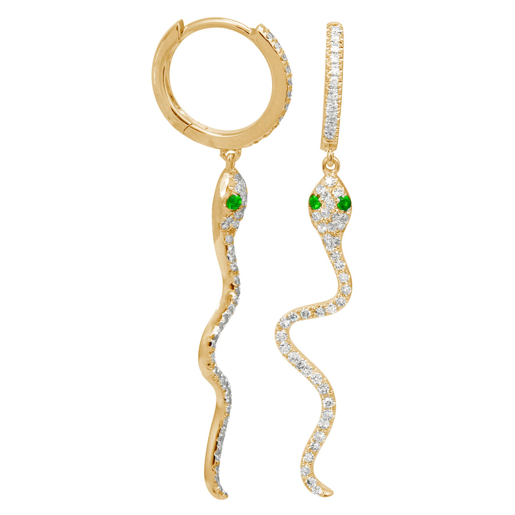14k Yellow Gold Diamond Tsavorite Dangle Snake Hoop Earrings (1/3 cttw, H-I Color, I1-I2 Clarity), 8.5mm Diameter
