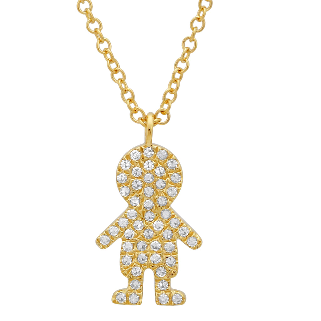 14k Yellow Gold Diamond Pave Girl Charm Pendant Necklace (1/8 cttw), 16+2""