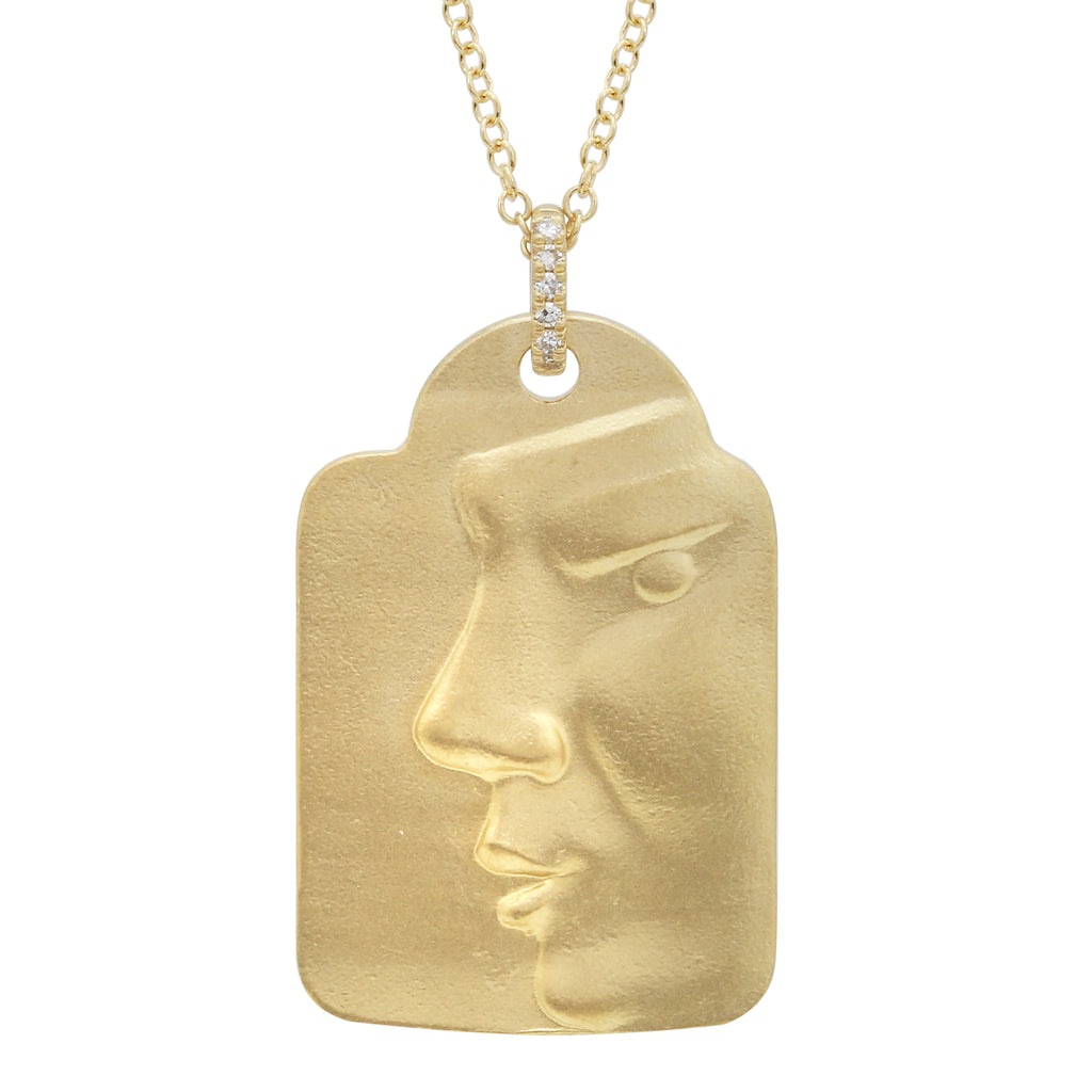 14k Yellow Gold Diamond Face Tag Pendant Necklace (0.02 cttw, I-J Color, I2-I3 Clarity), 16+4""