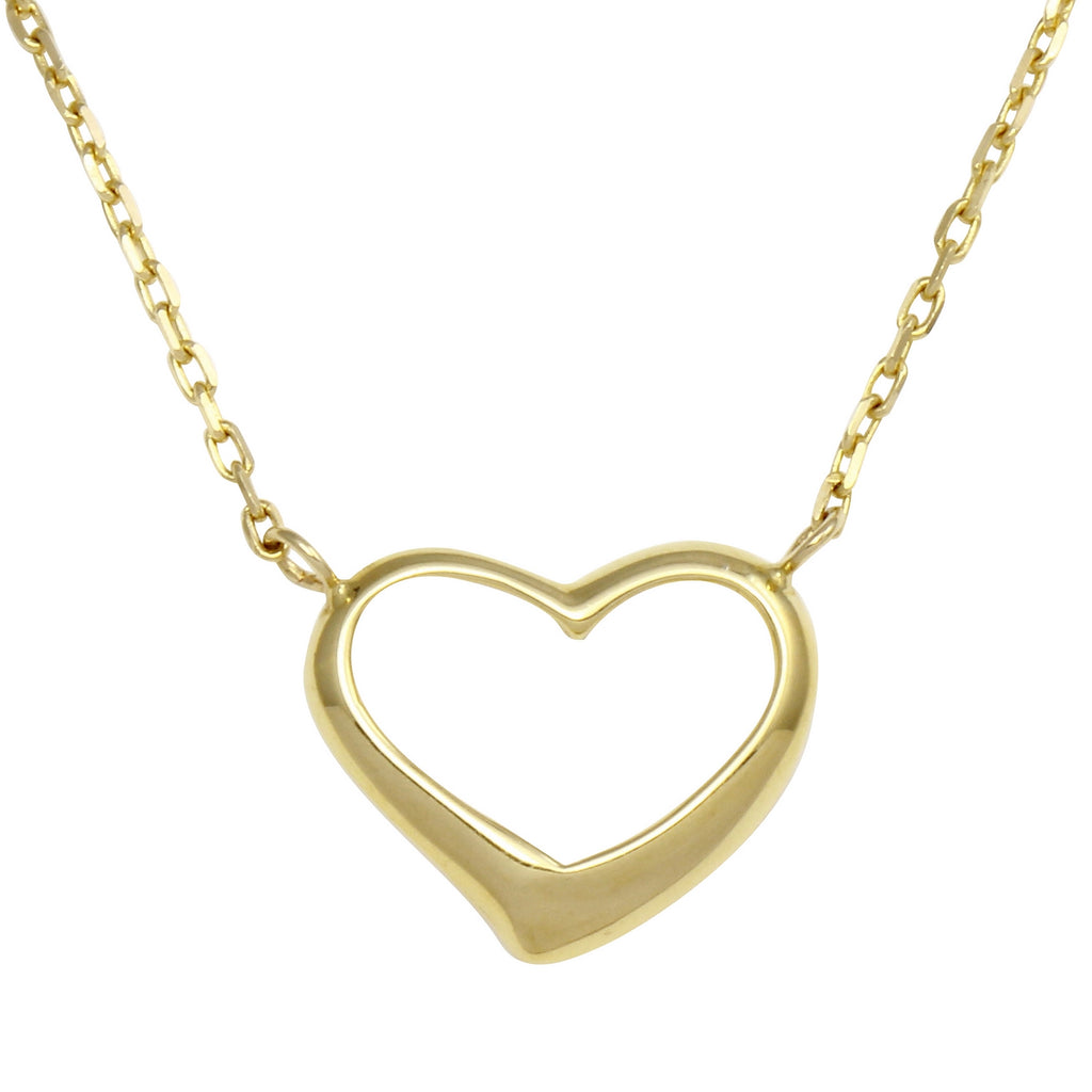 Bee Jewels Women's 14k Yellow Gold Heart Pendant Necklace, 18""