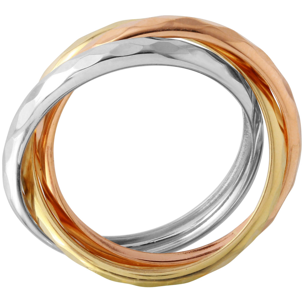 Bee Jewels Women's 14k Tri-Color Gold Triple Ring, Size 7