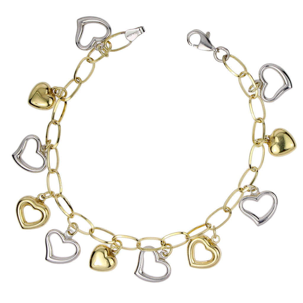 "14k Gold-Bonded Sterling Silver Two-Tone Heart Charm Bracelet, 7.25"" - Bee Jewels"