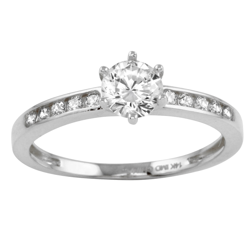 14k Gold CZ Round Brilliant Solitaire Channel Engagement Wedding Ring