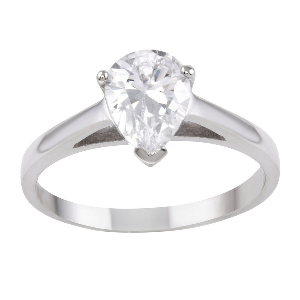 14k Gold Pear CZ Solitaire Cathedral Engagement Ring - Bee Jewels