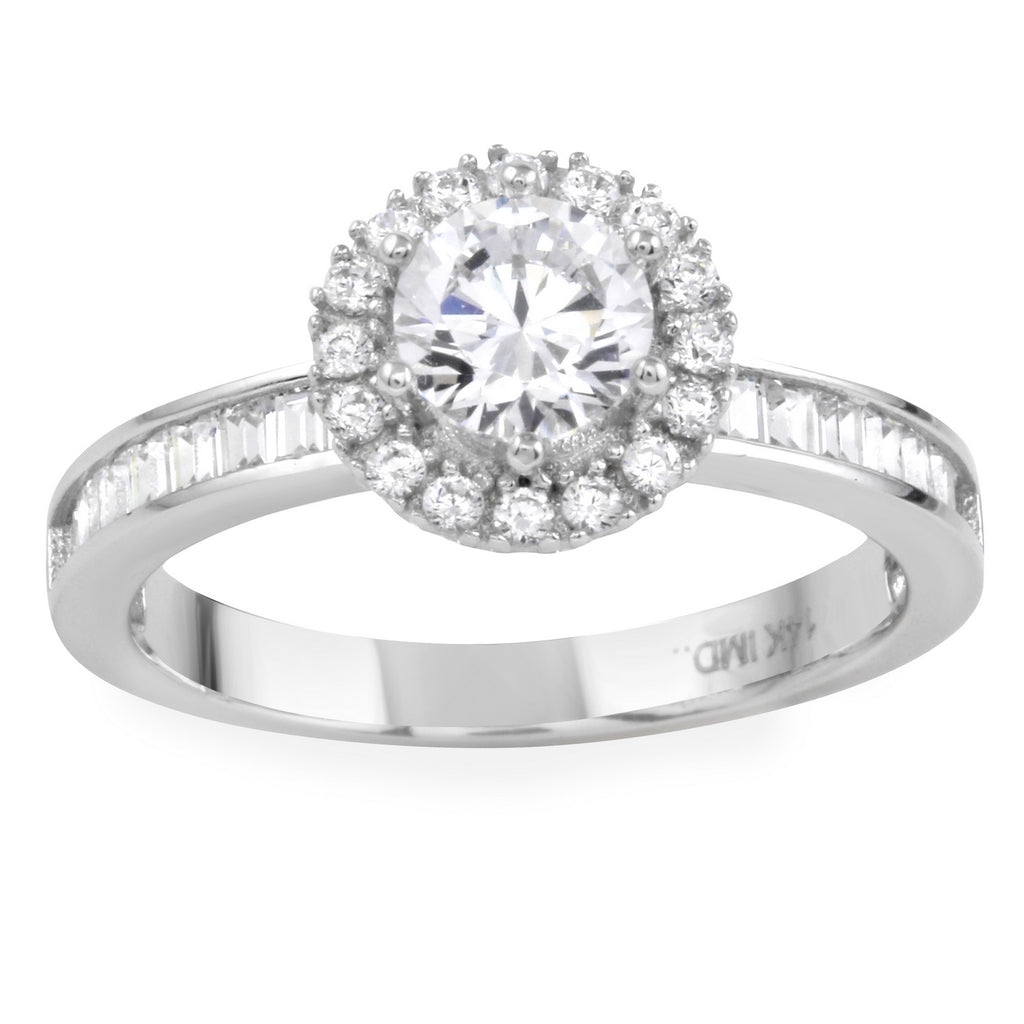 14k Gold CZ Round Brilliant Halo Channel Baguette Engagement Wedding Ring