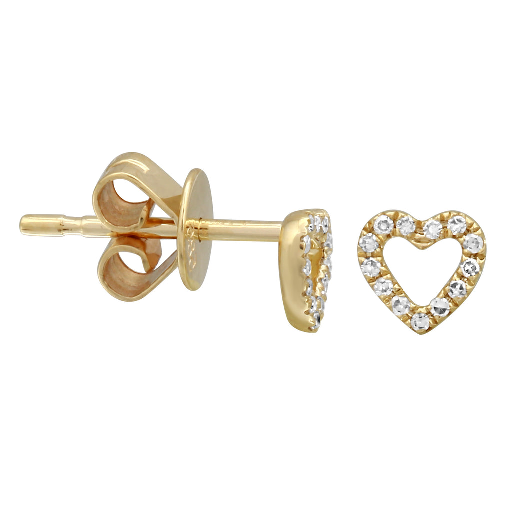 14k Yellow Gold Diamond Open Heart Stud Earrings (0.06 cttw, H-I Color, I1-I2 Clarity)